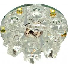 Светильник встраиваемый с разноцветной LED подсветкой Feron 1540 JCD9 прозрачно-желтый
