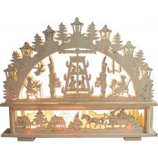 Деревянная световая фигура, 10 ламп С6, цвет свечения: теплый белый, 45*6*35 см, шнур 1,5 м , IP20, LT089