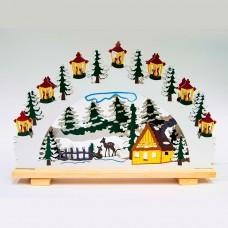 Деревянная световая фигура, 10 ламп С6, цвет свечения: теплый белый, 45*5*31 сm, шнур 1,5 м , IP20, LT083