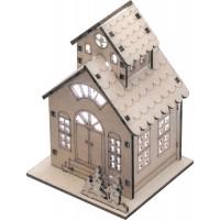 """LT126 деревянная световая фигура на батарейках""""Домик 2х-этажный со снеговиком"""",RGB,1LED,8*7.5*11.5см, артикул 32094"""