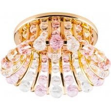 Светильник встраиваемый Feron CD2120 потолочный JCD9 G9 прозрачно-розовый, золотистый