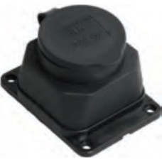 Розетка 1ая с з/к каучук с заглушкой 16А IP44 черная 9321 IN HOME