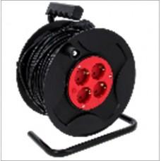 Удлинитель на катушке 3 гнезда шнур ПВС 2*1,5 черный-50м (250 мм)
