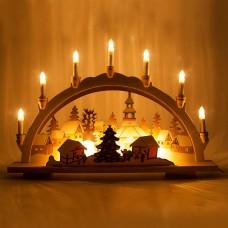 Деревянная световая фигура, 10 ламп С6, цвет свечения: теплый белый, 57*6*38,5 сm, шнур 1,5 м , IP20, LT082