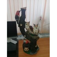 """Садовые фигура полистоун """"Совы, ёж и птица"""" 80 см"""