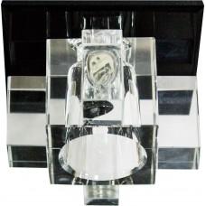 Светильник встраиваемый с разноцветной LED подсветкой Feron 1525 JCD9 прозрачно-черный