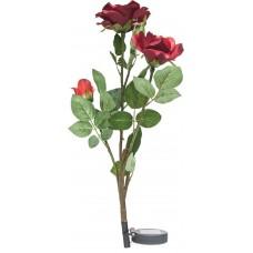 """Светильник садово-парковый на солнечной батарее """"Ветка розы"""", красный, 3 LED (белый), H 80cм , PL308, артикул 06268"""
