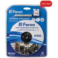 Cветодиодная LED лента Feron LS607, готовый комплект 5м 60SMD(5050)/м 14.4Вт/м IP65 12V холодный белый ДЕМО-УПАКОВКА