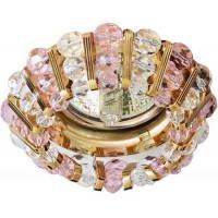 Светильник потолочный, MR16 50W G5.3 с прозрачным-розовым стеклом, золото, CD2121