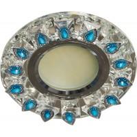 Светильник встраиваемый с белой LED подсветкой Feron CD55A потолочный MR16 G5.3 прозрачно-голубой