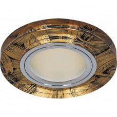 Светильник встраиваемый с белой LED подсветкой Feron 8484-2 потолочный MR16 G5.3 черно-золотистый