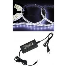 Cветодиодная LED лента Feron LS607, готовый комплект 5м 60SMD(5050)/м 14.4Вт/м IP65 12V холодный белый