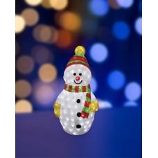 Акриловый светодиодный Снеговик разноцветный маленький